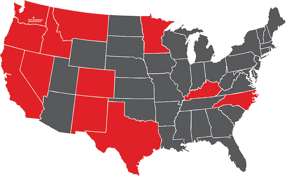 King Mountain Tobacco Products are Available in the Following States